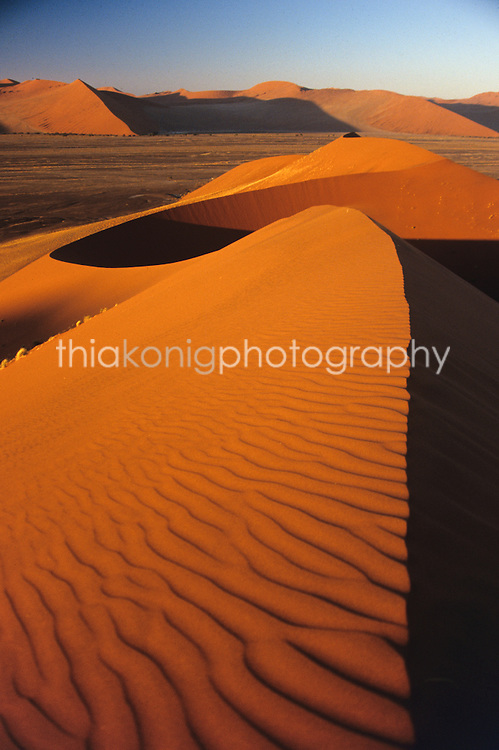 The shadows on sand ripples on the orange sand dune of the Namib desert, Namibia. Looking out to distant orange dunes on the horizon.