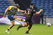 Nick Williams kicks a grubber during the European Rugby Challenge Cup match between Edinburgh Rugby and Cardiff Blues at BT Murrayfield Stadium, Edinburgh, Scotland on 31 March 2018. Picture by Kevin Murray.