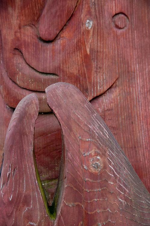 Wood Sculpture Outside Chuck's Seafood Grotto, Snohomish, Washington, US