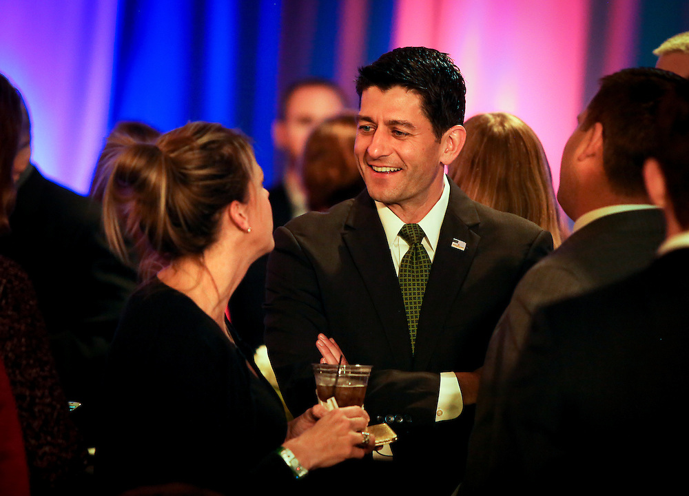 "U.S. Speaker of the House Paul Ryan (R-WI) speaks with an attendee during an ""Election Night event"" in Janesville, Wisconsin, U.S. November 8, 2016. REUTERS/Ben Brewer"