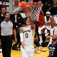 25 December 2017: Los Angeles Lakers forward Kyle Kuzma (0) goes for the reverse layup during the Minnesota Timberwolves 121-104 victory over the LA Lakers, at the Staples Center, Los Angeles, California, USA.