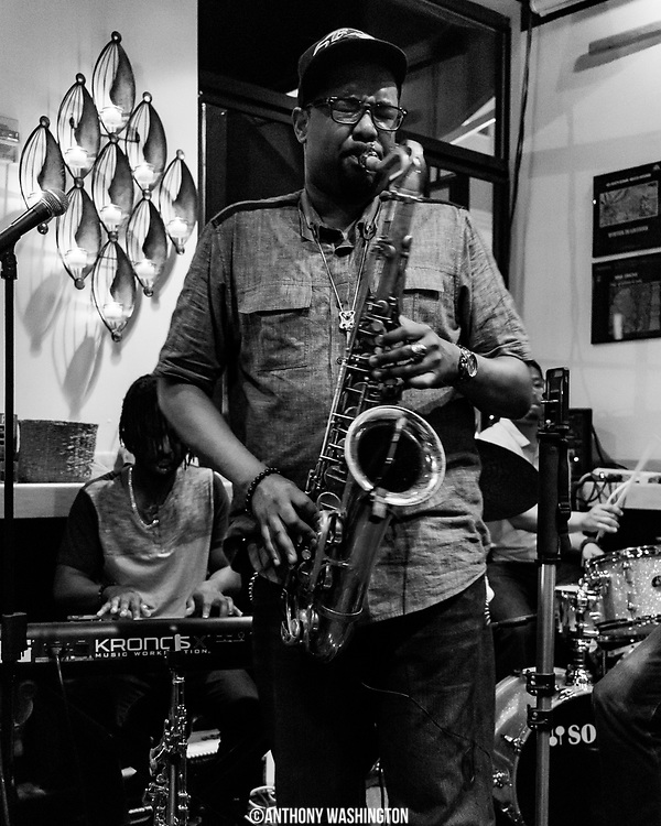 """Lionel Lyles, the band leader of The Lionel Lyles Quintet"""" plays at Bin 301 as a part of Funk Parade 2018 in Washington, DC on Saturday, May 12. 2018."""