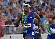 Jul 26, 2019; Des Moines, IA, USA; Rai Benjamin wins 400m hurdles semifinal in 48.30 for the top time during the USATF Championships at Drake Stadium.