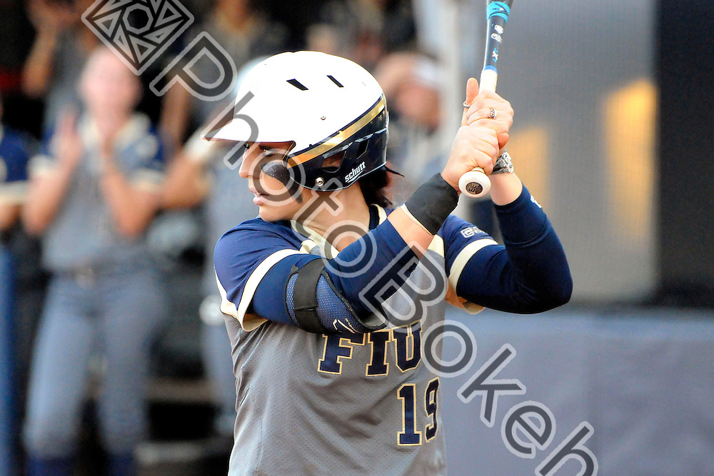 2015 February 13 - FIU's Shelby Graves (19). Florida International University defeated Memphis, 3-2, at the Felsberg Field at the FIU Softball Stadium, Miami, Florida. (Photo by: Alex J. Hernandez / photobokeh.com) This image is copyright by PhotoBokeh.com and may not be reproduced or retransmitted without express written consent of PhotoBokeh.com. ©2015 PhotoBokeh.com - All Rights Reserved