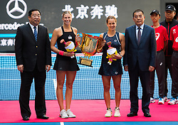 October 7, 2018 - Andrea Sestini Hlavackova & Barbora Strycova of the Czech Republic during the trophy ceremony after the doubles final of the 2018 China Open WTA Premier Mandatory tennis tournament (Credit Image: © AFP7 via ZUMA Wire)