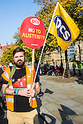 PCS member Phil at the TUC demo at the Conservative party conference, Manchester. 4th October 2015