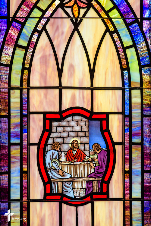 Stained glass depicting the Institution of the Lord's Supper (Luke 22:14) at St. John's Lutheran Church, Conover, N.C, on Friday, April 21, 2017. LCMS Communications/Erik M. Lunsford