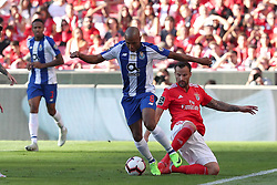 October 7, 2018 - Lisbon, Portugal - Porto's Algerian forward Yacine Brahimi (C ) vies with Benfica's Suisse forward Haris Seferovic during the Portuguese League football match SL Benfica vs FC Porto at the Luz stadium in Lisbon on October 7, 2018. (Credit Image: © Pedro Fiuza/ZUMA Wire)