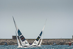 2012 Olympic Games London / Weymouth<br /> Star Medal Race<br /> Percy Iain, Simpson Andrew, (GBR, Star)<br /> Loof Fredrik, Salminen Max, (SWE, Star)