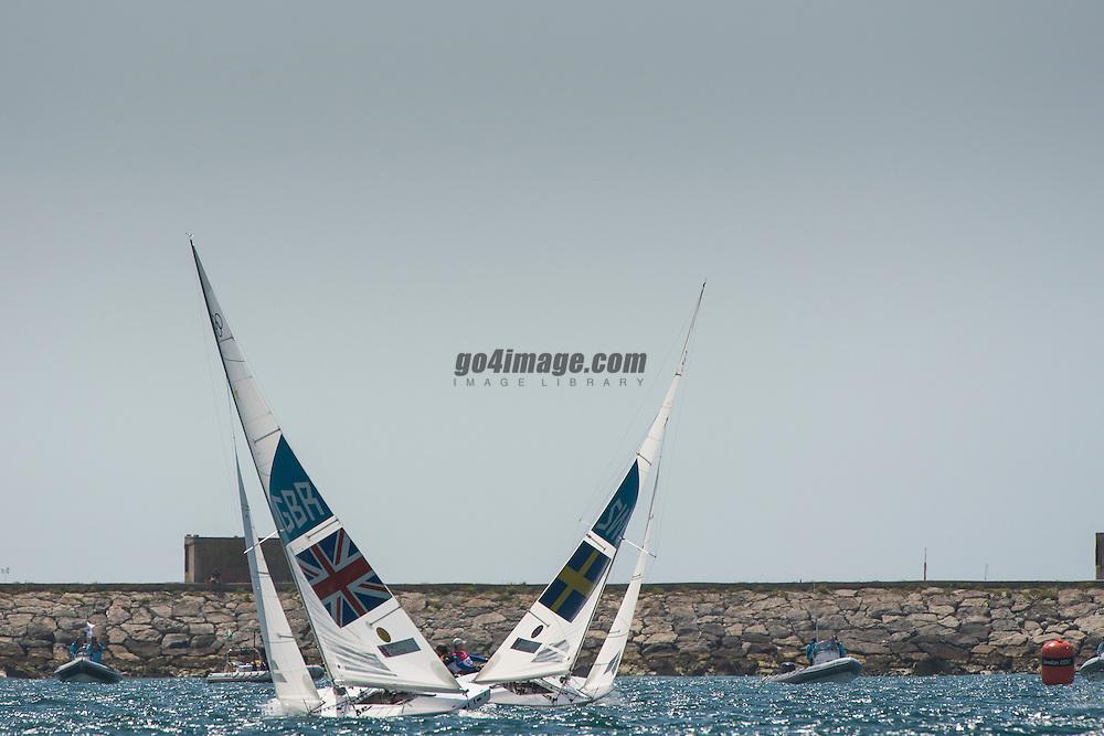 2012 Olympic Games London / Weymouth<br /> Star Medal Race<br /> Percy Iain, Simpson Andrew, (GBR, Star)<br /> Loof Fredrik, Salminen Max, (SWE, Star)