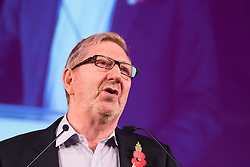 Westminster Central Hall, London, November 2nd 2015. Len McClusky, General Secretary of Unite The Union addresses the packed Westminster Central Hall.