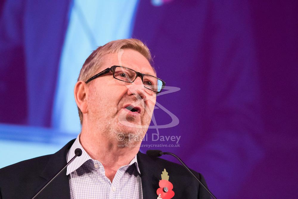 Westminster Central Hall, London, November 2nd 2015. Len McClusky, General Secretary of Unite The Union addresses the packed Westminster Central Hall.