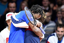 21.11.2014, Stade Pierre Mauroy, Lille, FRA, Davis Cup Finale, Frankreich vs Schweiz, im Bild Gael Monfils (FRA) jubelt mit Captain Arnaud Clement (FRA) // during the Davis Cup Final between France and Switzerland at the Stade Pierre Mauroy in Lille, France on 2014/11/21. EXPA Pictures © 2014, PhotoCredit: EXPA/ Freshfocus/ Valeriano Di Domenico<br /> <br /> *****ATTENTION - for AUT, SLO, CRO, SRB, BIH, MAZ only*****