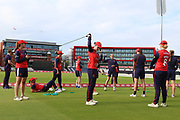 Lancashire Thunder warm up prior during the Women's Cricket Super League match between Lancashire Thunder and Loughborough Lightning at the Emirates, Old Trafford, Manchester, United Kingdom on 20 August 2019.