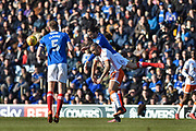 Portsmouth Defender, Christian Burgess (6) wins a header during the EFL Sky Bet League 1 match between Portsmouth and Blackpool at Fratton Park, Portsmouth, England on 24 February 2018. Picture by Adam Rivers.