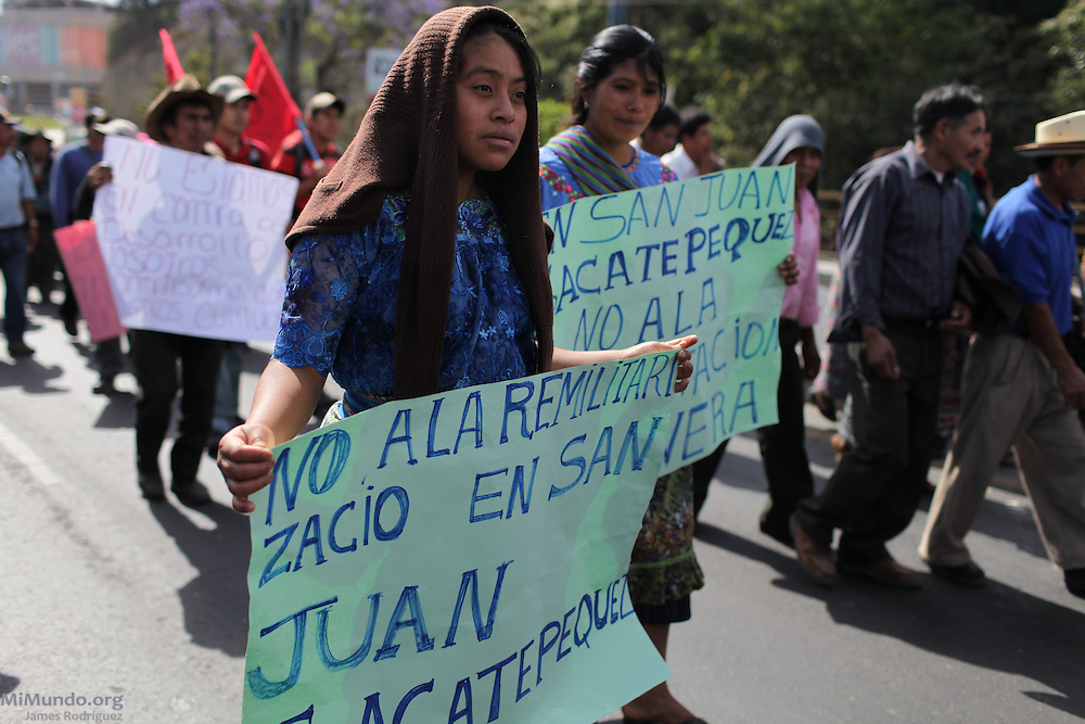 """""""No to the Remilitarization of San Juan Sacatepequez"""". After 9 days and 212 kilometers, the Indigenous, Campesino and Popular March for the defense of Mother Earth, against evictions, criminalization, and in favor of Integrated Rural Development, arrived to the Capital City. According to members of the Committee for Campesino Unity (CUC), it is estimated that about 15,000 people participated in the ninth and final day of the march."""