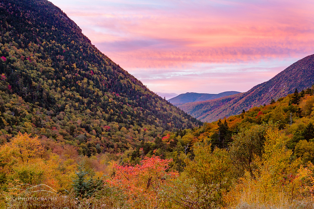 Fall in Crawford Notch at dawn. White Mountains, New Hampshire.