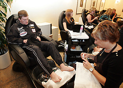 Ricky Hatton recieves an emergency pedicure after splitting his big toe nail. To Team Hatton's relief his nail was trimmed and glued back together much to the amusement of the female clients at Caesars Palace Spa. 6th December 2007.
