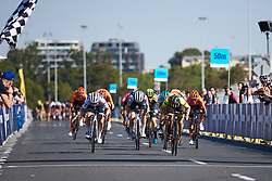 Chloe Hosking (AUS) wins the final sprint, Lotta Lepistö (FIN) second place finish is enough to secure the overall classification at Toward Zero Women's Race Melbourne 2019, a 63.6 km criterium in Melbourne, Australia on January 24, 2019. Photo by Sean Robinson/velofocus.com