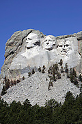 Keystone, SD, USA, June 3rd 2005: The famous sculpture on Mount Rushmore features the faces of four exalted American presidents: George Washington, Thomas Jefferson, Theodore Roosevelt, and Abraham Lincoln. South Dakota's Black Hills provide the backdrop for Mount Rushmore. Sculptor Gutzon Borglum began drilling into the 5,725-foot mountain in 1927<br /> <br />  *** Local Caption ***