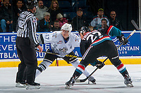 KELOWNA, CANADA - OCTOBER 26: Tyler Soy #17 of the Victoria Royals faces off against Calvin Thurkauf #27 of the Kelowna Rockets on October 26, 2016 at Prospera Place in Kelowna, British Columbia, Canada.  (Photo by Marissa Baecker/Shoot the Breeze)  *** Local Caption ***