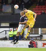 Ayr United's John Robertson and Dundee's Leighton Mcintosh - Ayr United v Dundee, IRN BRU Scottish Football League First Division at Somerset Park..© David Young.5 Foundry Place.Monifieth.Angus.DD5 4BB.Tel: 07765 252616.email: davidyoungphoto@gmail.com.http://www.davidyoungphoto.co.uk