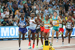 London, August 12 2017 . Paul Kipkemoi Chelimo, USA, and Mo Farah, Great Britain lead the early stages of the men's 5000m final on day nine of the IAAF London 2017 world Championships at the London Stadium. © Paul Davey.