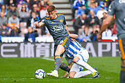 Harvey Barnes of Leicester City (19) in action during the Premier League match between Huddersfield Town and Leicester City at the John Smiths Stadium, Huddersfield, England on 6 April 2019.