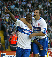Photo: Aidan Ellis.<br /> Sheffield United v Middlesbrough. The Barclays Premiership. 30/09/2006.<br /> Boro's Yakubu celebrates his equaliser with mark Viduka