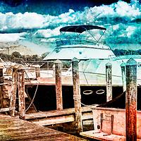 Docked boats in Wayzata digitally enhanced photo art.