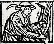 Reaping with a sickle. Woodcut from 'Calendarum Romanum Magnum',  1518.