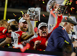 February 2, 2020, Miami Gardens, FL, USA: Kansas City Chiefs head coach Andy Reid holds the Vince Lombardi Trophy after winning Super Bowl LIV against the San Francisco 49ers, 31-20, at Hard Rock Stadium in Miami Gardens, Fla., on Sunday, Feb. 2, 2020. The Chiefs won, 31-20. (Credit Image: © TNS via ZUMA Wire)