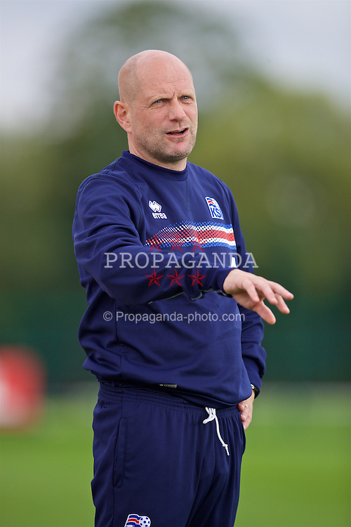NEWPORT, WALES - Tuesday, September 6, 2016: Iceland's head coach Thorvaldur Orlygson during the International Friendly match against Wales at Dragon Park. (Pic by David Rawcliffe/Propaganda)