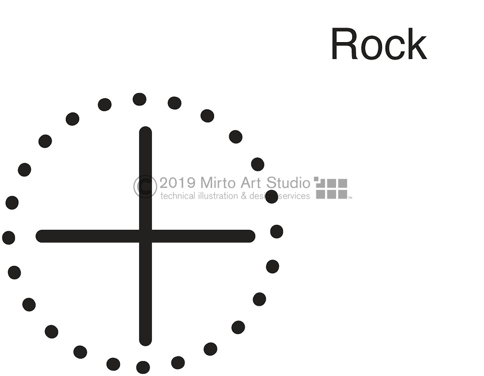 A vector illustration of a Submerged Rock symbol used on navigational charts.