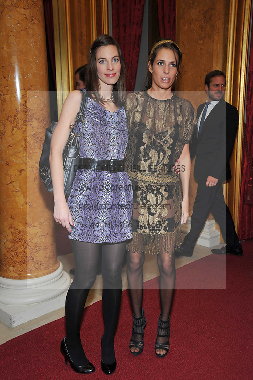 Left to right, LUCY SHEFFIELD sister of Samantha Cameron and MARINA HANBURY at a party to celebrate 300 years of Tatler magazine held at Lancaster House, London on 14th October 2009.