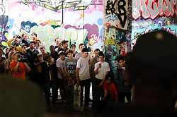 A crowd of many ages watches as skaters try and land the jump off the concrete steps at the Long Live Southbank event on the May bank holiday