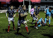 Captain Mark Bright on the run during the Green King IPA Championship match between London Scottish &amp; Worcester at Richmond, Greater London on 20th December 2014<br /> <br /> Photo: Ken Sparks | UK Sports Pics Ltd<br /> London Scottish v Worcester, Green King IPA Championship, 20th December 2014<br /> <br /> &copy; UK Sports Pics Ltd. FA Accredited. Football League Licence No:  FL14/15/P5700.Football Conference Licence No: PCONF 051/14 Tel +44(0)7968 045353. email ken@uksportspics.co.uk, 7 Leslie Park Road, East Croydon, Surrey CR0 6TN. Credit UK Sports Pics Ltd