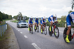 The Lensworld Zannata Cycling Team squad ups the pace on a small incline during the 42,5 km team time trial of the UCI Women's World Tour's 2016 Crescent Vårgårda women's road cycling race on August 19, 2016 in Vårgårda, Sweden. (Photo by Balint Hamvas/Velofocus)