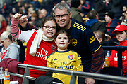 Dad and daughter Arsenal fans before the FA Women's Super League match between Tottenham Hotspur Women and Arsenal Women FC at Tottenham Hotspur Stadium, London, United Kingdom on 17 November 2019.