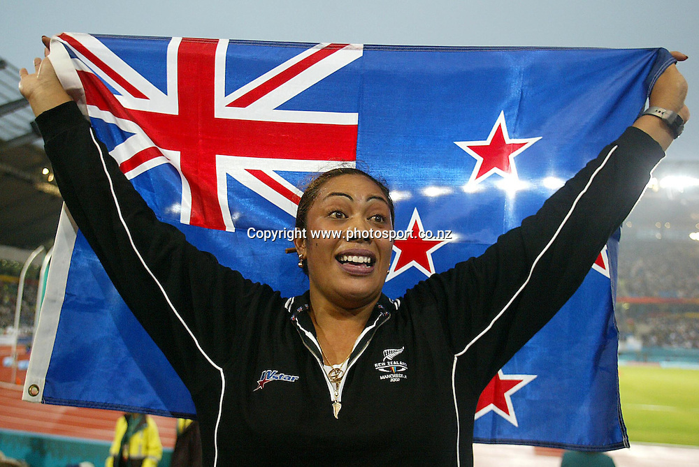 30 July 2002, City of Manchester stadium,Commonwealth Games, Manchester, England. Beatrice Faumuina wins gold in the Women's Discus.<br />