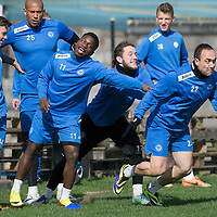 St Johnstone Training....11.04.14<br /> Lee Croft gets a helping hand in a sprint race from team mates Stevie May and Nigel Hasselbank during training this morning ahead of Sunday's Scottish Cup semi-fnal against Aberdeen.<br /> Picture by Graeme Hart.<br /> Copyright Perthshire Picture Agency<br /> Tel: 01738 623350  Mobile: 07990 594431