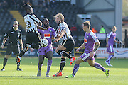 Notts County midfielder Stanley Aborah and Notts County midfielder Alan Smith battle with Plymouth Argyle midfielder, on loan from Crystal Palace, Hiram Boatengduring the Sky Bet League 2 match between Notts County and Plymouth Argyle at Meadow Lane, Nottingham, England on 11 October 2015. Photo by Simon Davies.