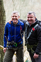 Pictured: Willie Rennie and Jim Hume ready for action.<br /> <br /> Scottish Liberal Democrat leader Willie Rennie joined South of Scotland Liberal Democrat candidate Jim Hume at Go Ape in Glentress Forest, near Peebles. During his visit to the forest, Mr Rennie set out Liberal Democrat plans to ensure that Scotland starts hitting our climate change targets. <br /> Ger Harley | EEm 4 April 2016