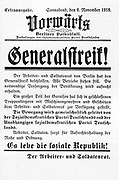 Vorwärts' (Berlin) central organ of the Social Democratic Party of Germany, issue of 9. November 1918.