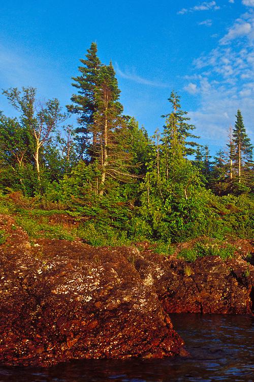 Lake Superior shoreline near Copper Harbor Michigan on the Keweenaw Peninsula.