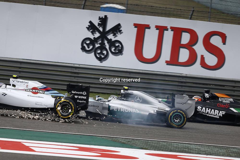 20.04.2014. SHanghai, China.  Motorsports: FIA Formula One World Championship 2014, Grand Prix of China, 77 Valtteri Bottas (FIN, Williams Martini Racing), 6 Nico Rosberg (GER, Mercedes AMG Petronas F1 Team)