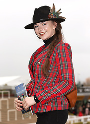 Miss Cotswolds 2018 winner Courtney Taylor during Gold Cup Day of the 2019 Cheltenham Festival at Cheltenham Racecourse.