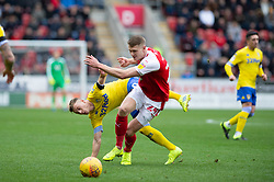 January 26, 2019 - Rotherham, England, United Kingdom - Ezgjan Alioski of Leeds United battles with Michael Smith of Rotherham United  during the Sky Bet Championship match between Rotherham United and Leeds United at the New York Stadium, Rotherham, England, UK, on Saturday 26th January 2019. (Credit Image: © Mark Fletcher/NurPhoto via ZUMA Press)