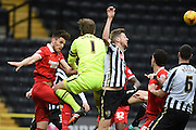 Notts County goalkeeper Roy Carroll (Capt) clears the ball during the Sky Bet League 2 match between Notts County and Leyton Orient at Meadow Lane, Nottingham, England on 20 February 2016. Photo by Jon Hobley.