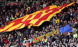 Barcelona fans wave a Catalan flag. Celtic v Barcelona, Uefa Champions League, Knockout phase, Celtic Park, Glasgow, Scotland. 20th February 2008.